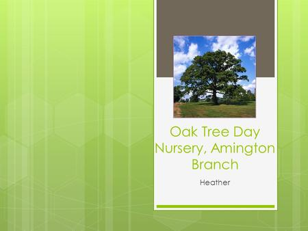 Oak Tree Day Nursery, Amington Branch Heather. The Nursery set up…  Three rooms, equipped for specific age group  Toys cleaned regularly and thrown.