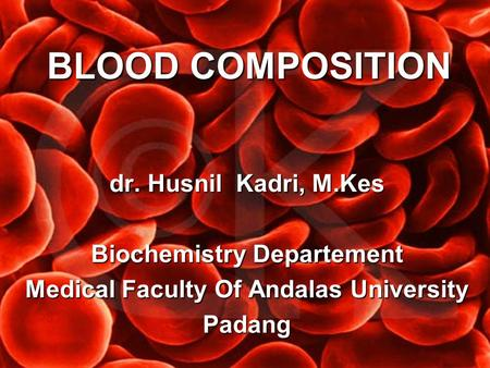 Biochemistry Departement Medical Faculty Of Andalas University