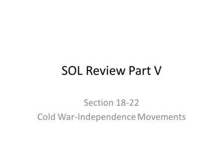 Section Cold War-Independence Movements