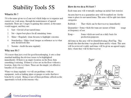 Stability Tools 5S How do we do a 5S Sort ? What is 5S ? Why use 5S ?