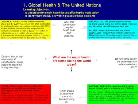 1. Global Health & The United Nations Learning objectives: - to understand the main health issues affecting the world today - to identify how the UN are.