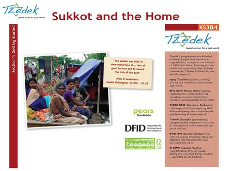 Aims for the Lesson Use the festival of Sukkot to create awareness and provide tools to help pupils formulate a response to homelessness and inadequate.