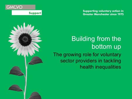 Building from the bottom up The growing role for voluntary sector providers in tackling health inequalities.