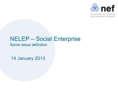 NELEP – Social Enterprise Some issue definition 14 January 2013.