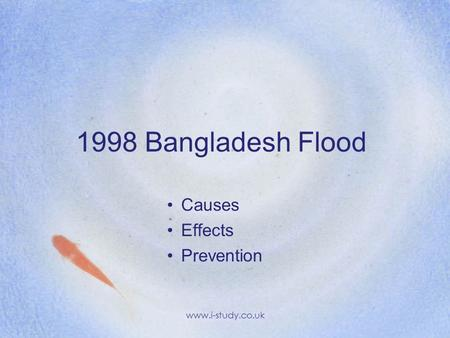 1998 Bangladesh Flood Causes Effects Prevention www.i-study.co.uk.