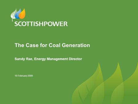 10 February 2009 The Case for Coal Generation Sandy Rae, Energy Management Director.