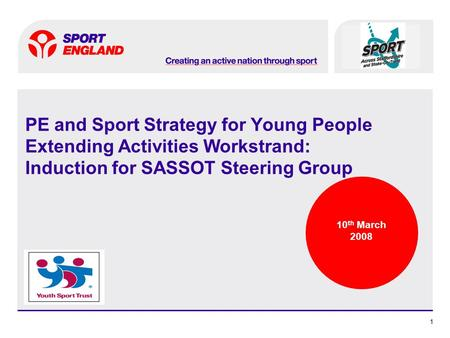 11 PE and Sport Strategy for Young People Extending Activities Workstrand: Induction for SASSOT Steering Group 10 th March 2008.