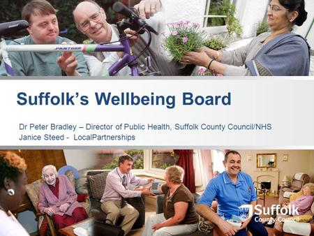 Suffolk's Wellbeing Board Dr Peter Bradley – Director of Public Health, Suffolk County Council/NHS Janice Steed - LocalPartnerships.
