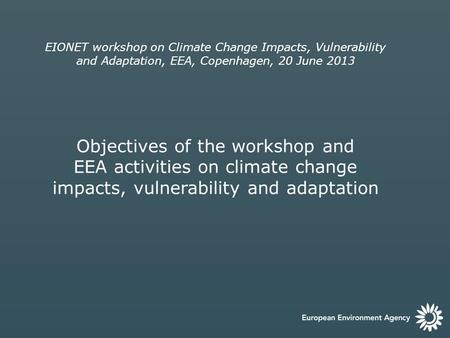 EIONET workshop on Climate Change Impacts, Vulnerability and Adaptation, EEA, Copenhagen, 20 June 2013 Objectives of the workshop and EEA activities on.