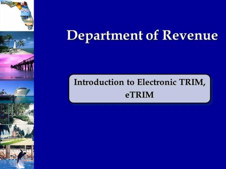Department of Revenue Introduction to Electronic TRIM, eTRIM eTRIM.