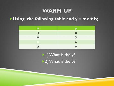 WARM UP  Using the following table and y = mx + b;  1) What is the y?  2) What is the b? xy 0 03 16 29.