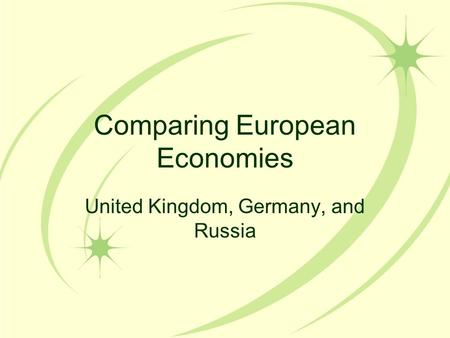 Comparing European Economies