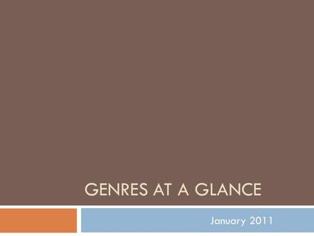 GENRES AT A GLANCE January 2011. GENRES AT A GLANCE  FICTION  POETRY  DRAMA  NONFICTION  TYPES OF MEDIA.