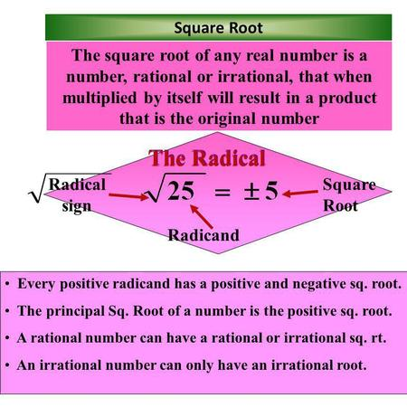 surds real number and square root Find the square root, or the two roots, including the principal root, of positive and negative real numbers calculate the positive principal root and negative root of positive real numbers also tells you if the entered number is a perfect square.