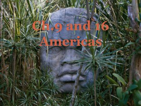 Ch.9 and 16 Americas. THE ANIMAL THAT APPEARS IN MANY OLMEC CARVINGS, SOMETIMES IN A HALF-HUMAN, HALF-ANIMAL FORM. Jaquar.
