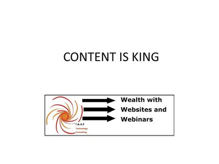 CONTENT IS KING. OVERVIEW OF THIS PRESENTATION Keyword Rich Title & your URL The use of pictures + copyright rules Ezine Opt in or squeeze page.