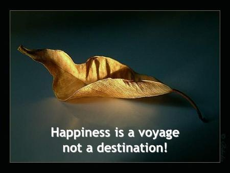 Happiness is a voyage not a destination!. We convince ourselves that life will be better once we are married, have a baby, then another. Then we get frustrated.