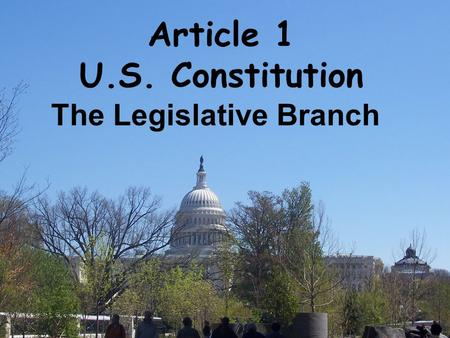 Article 1 U.S. Constitution