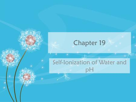 Chapter 19 Self-Ionization of Water and pH. Strong vs. Weak Strong: 100% dissociation of H + or OH – – Strong electrolytes (conduct electricity very well)