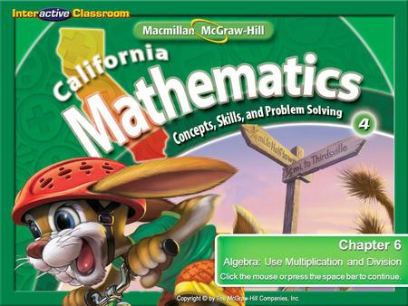 Chapter 6 Algebra: Use Multiplication and Division