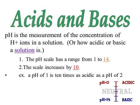 PH is the measurement of the concentration of H+ ions in a solution. (Or how acidic or basic a solution is.) 1. The pH scale has a range from 1 to 14.