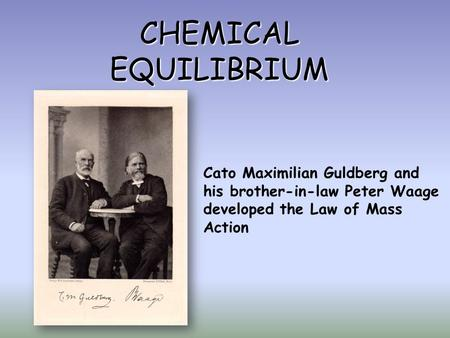 CHEMICAL EQUILIBRIUM Cato Maximilian Guldberg and his brother-in-law Peter Waage developed the Law of Mass Action.