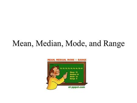 Mean, Median, Mode, and Range. Mean Mean: Average 1)First, order the numbers from least to greatest. 2)Next, add the numbers in the data set. 3)Then,