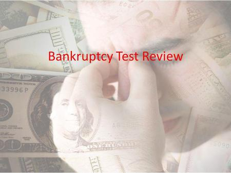 Bankruptcy Test Review. True/False Bankruptcy stays on your credit report for 10 years and decreases your credit score.