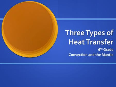 Three Types of Heat Transfer