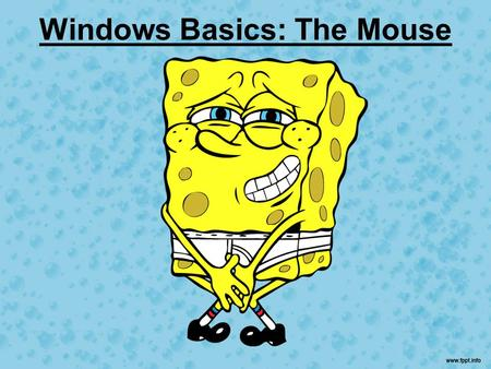Windows Basics: The Mouse. The Mouse Before you can explore the Desktop and Taskbar, you must know how to use your mouse. Your mouse is a pointing device.