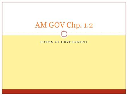 AM GOV Chp. 1.2 Forms of Government.