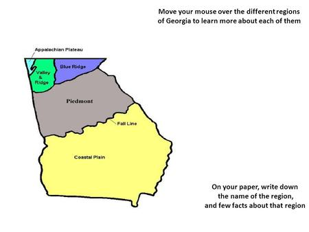 on your paper write down and few facts about that region