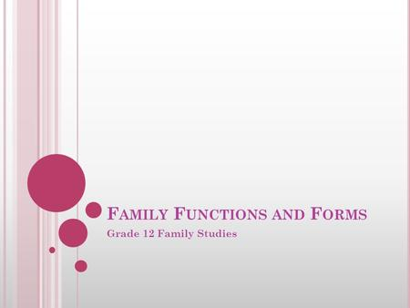 F AMILY F UNCTIONS AND F ORMS Grade 12 Family Studies.