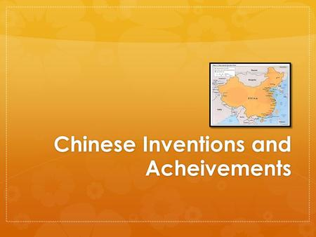 Chinese Inventions and Acheivements. Irrigation and Water Systems Pumps and other systems were developed to bring water to the rice paddies.