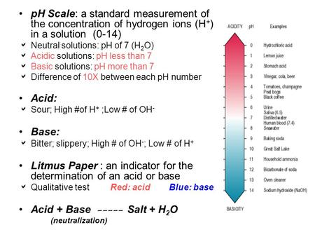 PH Scale: a standard measurement of the concentration of hydrogen ions (H + ) in a solution (0-14)  Neutral solutions: pH of 7 (H 2 O)  Acidic solutions: