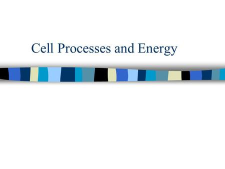 Cell Processes and Energy