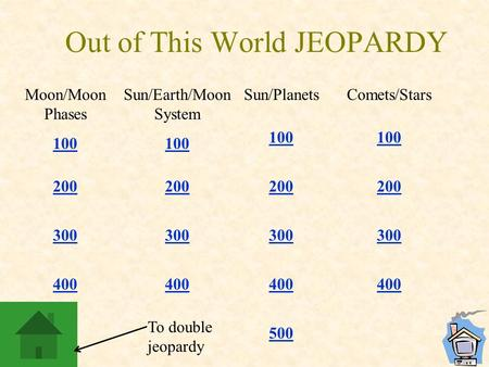 Out of This World JEOPARDY Moon/Moon Phases 100 200 300 400 Sun/Earth/Moon System 100 200 300 400 Sun/Planets 100 200 300 400 500 Comets/Stars 100 200.