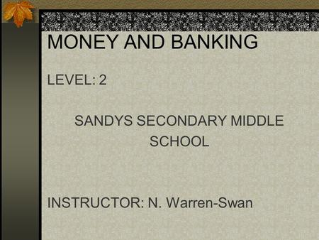 MONEY AND BANKING LEVEL: 2 SANDYS SECONDARY MIDDLE SCHOOL INSTRUCTOR: N. Warren-Swan.