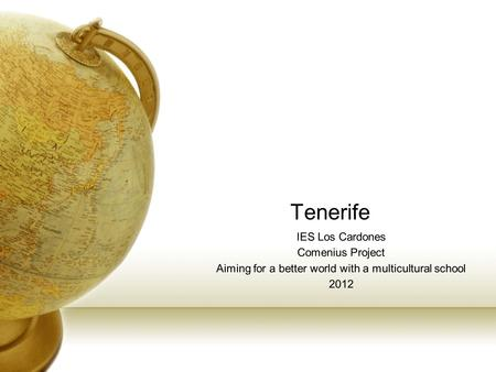 Tenerife IES Los Cardones Comenius Project Aiming for a better world with a multicultural school 2012.