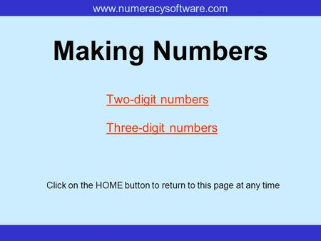 Www.numeracysoftware.com Making Numbers Two-digit numbers Three-digit numbers Click on the HOME button to return to this page at any time.