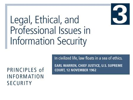 Principles of Information Security, 3rd Edition2  Use this chapter as a guide for future reference on laws, regulations, and professional organizations.