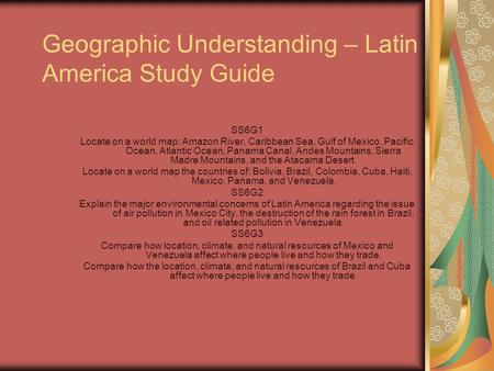 Geographic Understanding – Latin America Study Guide