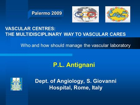 Palermo 2009 P.L. Antignani Dept. of Angiology, S. Giovanni Hospital, Rome, Italy VASCULAR CENTRES: THE MULTIDISCIPLINARY WAY TO VASCULAR CARES Who and.