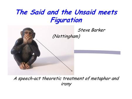 The Said and the Unsaid meets Figuration Steve Barker (Nottingham) A speech-act theoretic treatment of metaphor and irony.