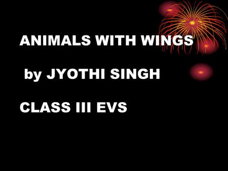 ANIMALS WITH WINGS by JYOTHI SINGH CLASS III EVS.