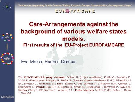 Pan- European Network Core Group EUROFAMCARE 1 Care-Arrangements against the background of various welfare states models. First results of the EU-Project.