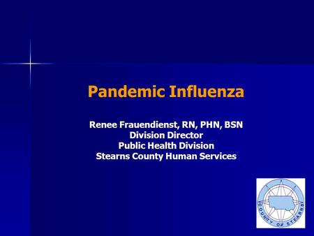 Pandemic Influenza Renee Frauendienst, RN, PHN, BSN Division Director Public Health Division Stearns County Human Services.