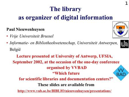 The library as organizer of digital information