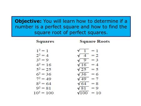 Objective: You will learn how to determine if a number is a perfect square and how to find the square root of perfect squares.