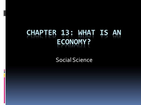Chapter 13: What is an economy?